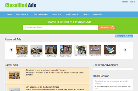 Online demo php classifieds software, SEO optimized, classifieds