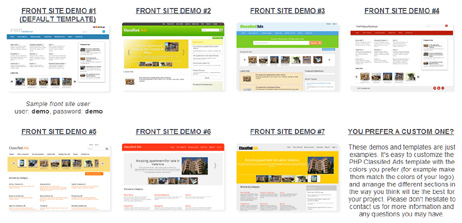 php classified ads script different templates