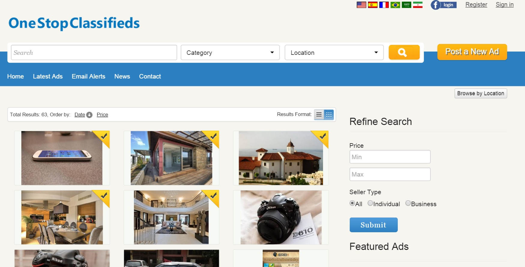 grid format of the search results php classified ads
