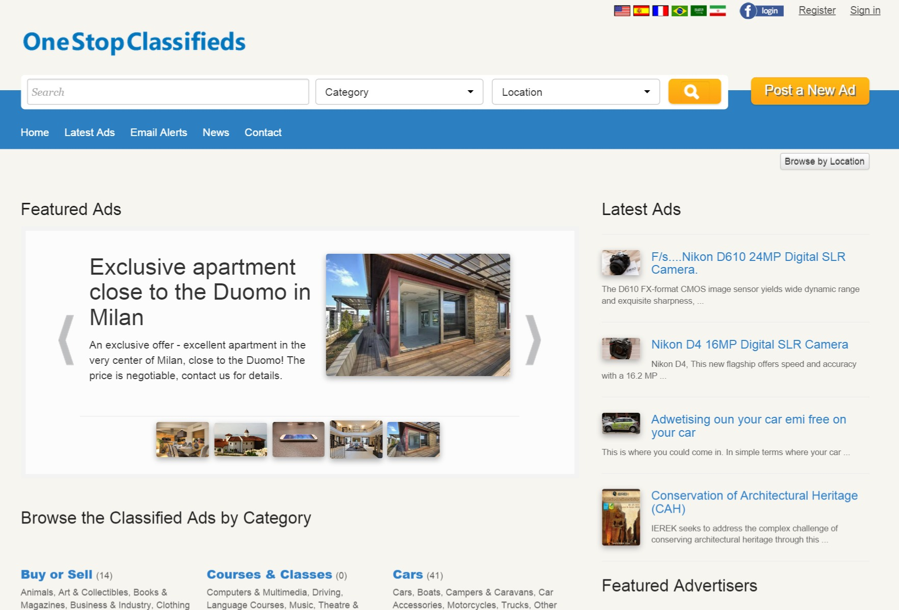 home page of the main site (default template) php classified ads