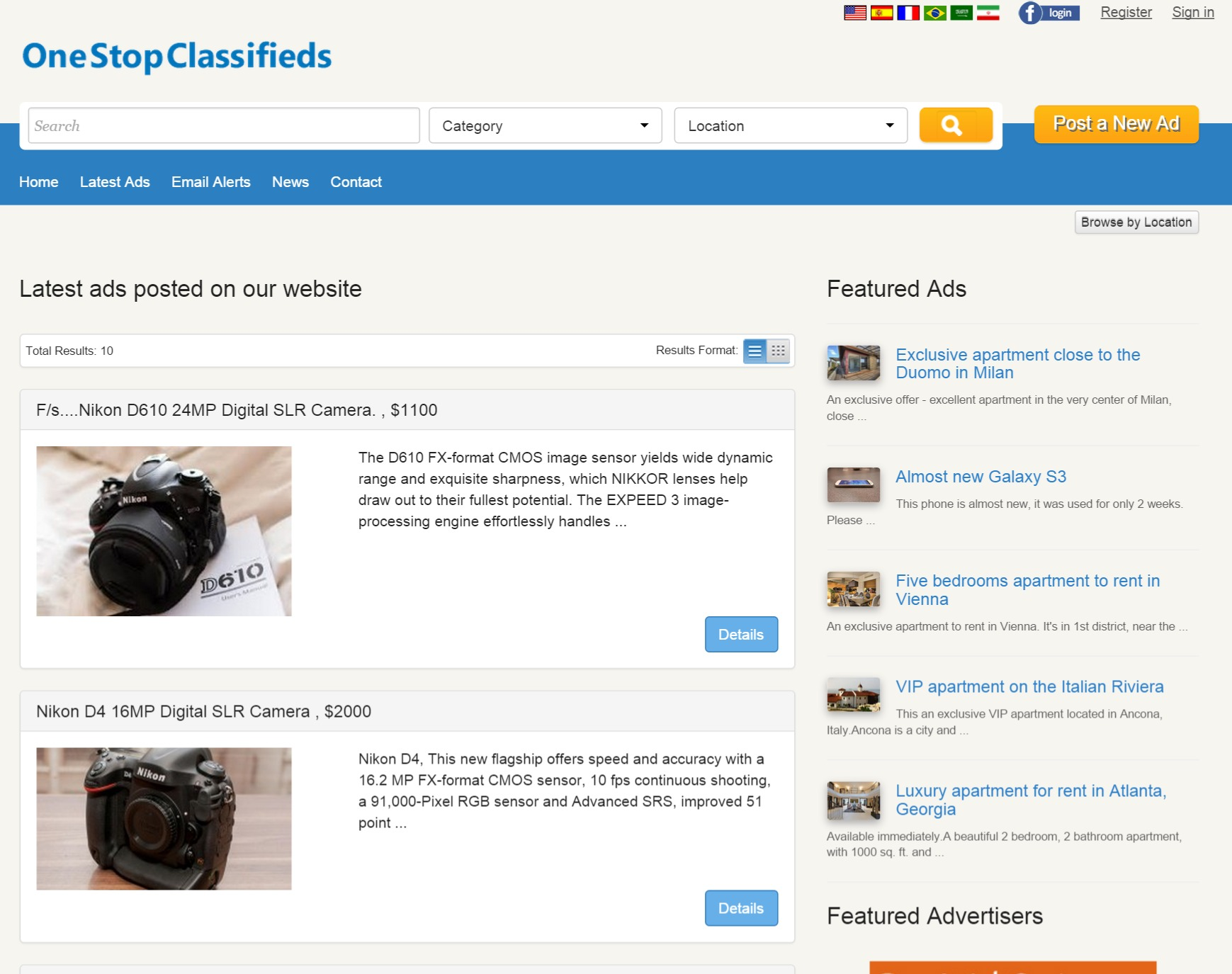 latest ads page php classified ads