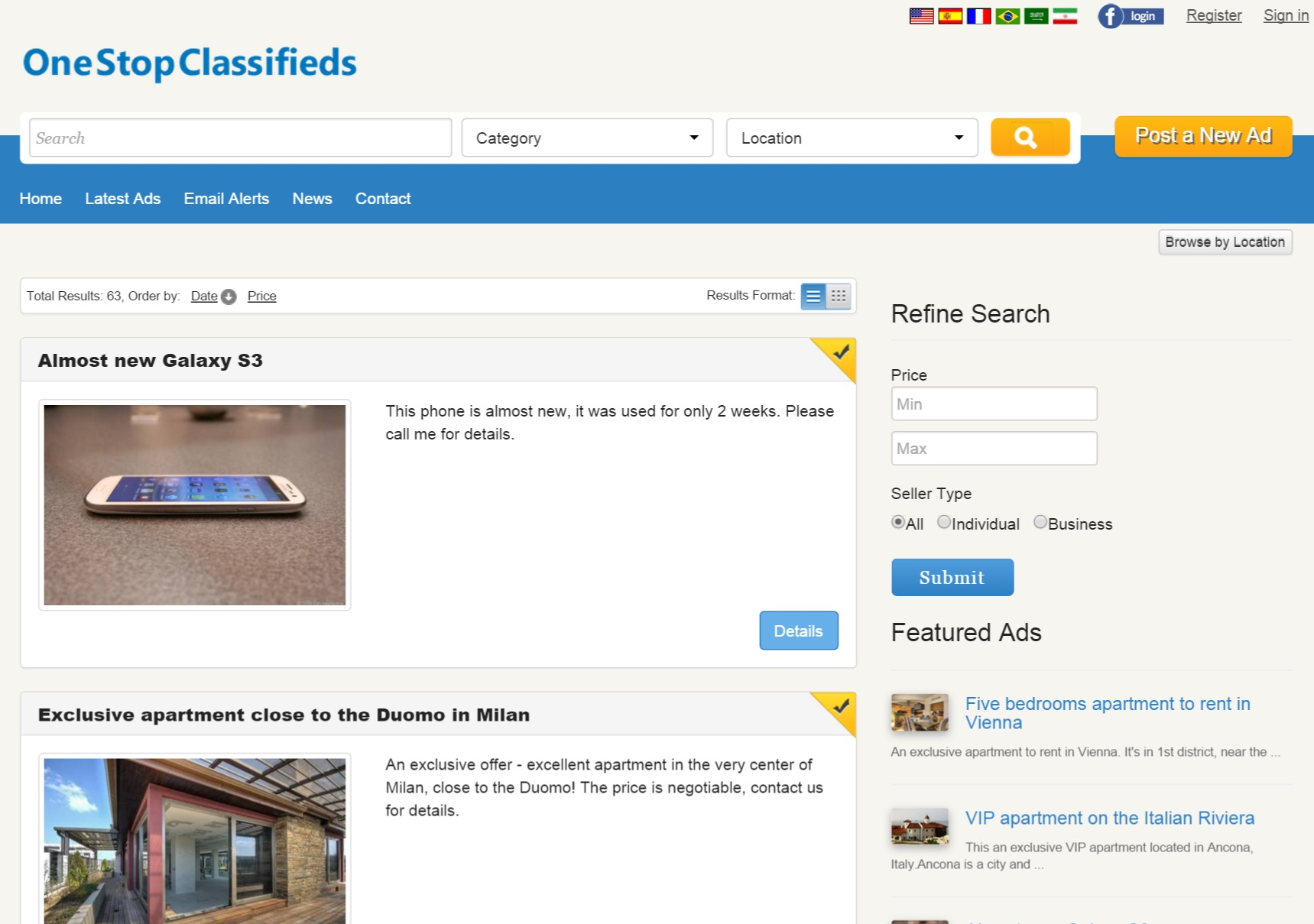 list format of the search results php classified ads